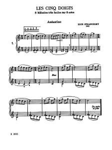 Andantino - Les cinq doigts, Stravinsky 1921