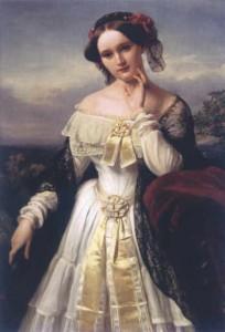 Mathilde Wesendonck pictata de Karl Ferdinand- fiul,1850 (lucrare din StadtMuseum Bonn)