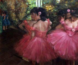 Balerine in tutu-uri mov (celebrul roz ciresiu al lui  Degas)
