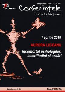 Afis - Conferinta Aurora Liiceanu la TNB